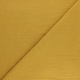 Tissu double gaze de coton Tendresse - jaune moutarde x 10cm