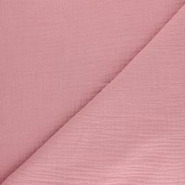 Double cotton gauze fabric - pink Tendresse x 10cm