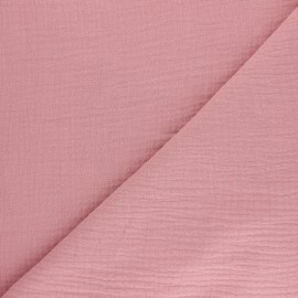Tissu double gaze de coton Tendresse - rose x 10cm