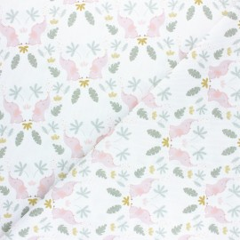 Pastel Jungle stitched cotton fabric - White Elephant x 10cm