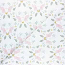 Tissu piqué de coton Pastel Jungle Elephant - Blanc x 10cm