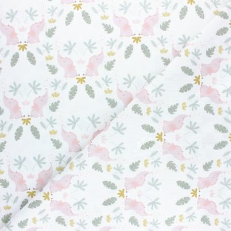 Pastel Jungle stitched cotton fabric - White Elephant x 10cm