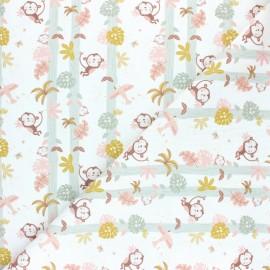 Pastel Jungle stitched cotton fabric - White Monkey x 10cm