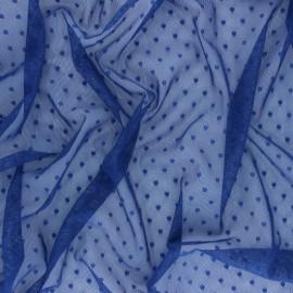 Tissu tulle souple Point d'esprit Millie - bleu cobalt x 10cm