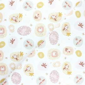 Pastel Jungle stitched cotton fabric - White Animaux x 10cm