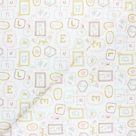 Pastel Jungle stitched cotton fabric - White Letters x 10cm