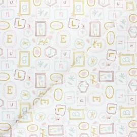 Tissu piqué de coton Pastel Jungle Letters - Blanc x 10cm