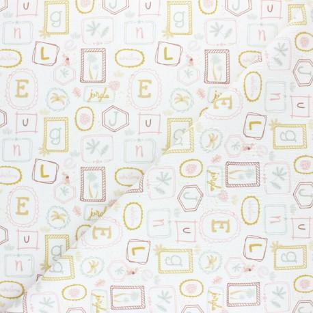 Pastel Jungle stitched cotton fabric - White Letters x 10cm