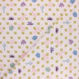 Jersey cotton fabric - pink Jardin botanique x 10cm