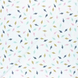 Jersey cotton fabric - white Losange x 10cm