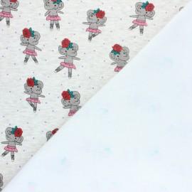 Tissu sweat envers minkee Elephant Ballerine - Écru chiné/blanc x 10cm