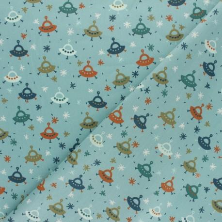Tissu coton popeline Poppy Fly into space - bleu x 10cm