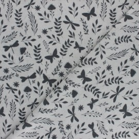 Jersey towel fabric - white May's Garden x 10cm
