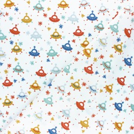 Tissu coton popeline Poppy Fly into space - blanc x 10cm