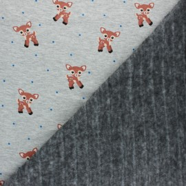 Sweatshirt fabric with minkee - Mottled grey Lovely Bambi x 10cm