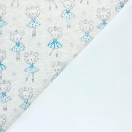 Tissu sweat envers minkee Souris Ballerine - Écru chiné x 10cm