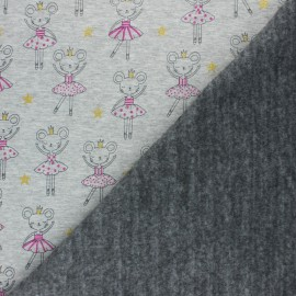 Sweatshirt fabric with minkee - Mottled raw Souris Ballerine x 10cm