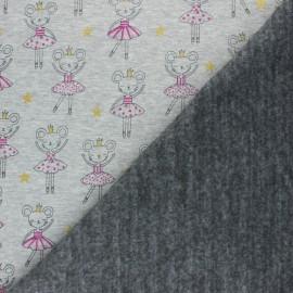 Tissu sweat envers minkee Souris Ballerine - Gris chiné x 10cm