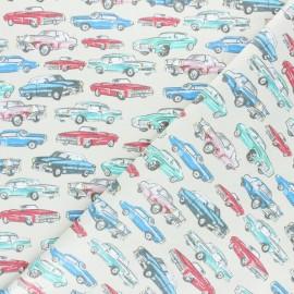 Poplin cotton fabric - Beige Retro cars x 10