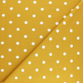 Dotted Cotton Jersey fabric - mustard yellow x 10cm