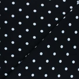Tissu jersey de coton à pois blanc - moutarde x 10cm