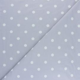 Tissu jersey de coton à pois blanc - gris clair x 10cm