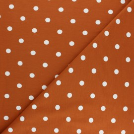 Dotted Cotton Jersey fabric - brick red x 10cm