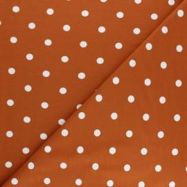 Tissu jersey de coton à pois blanc - tomette x 10cm