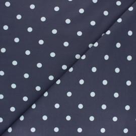 Tissu jersey de coton à pois blanc - gris x 10cm