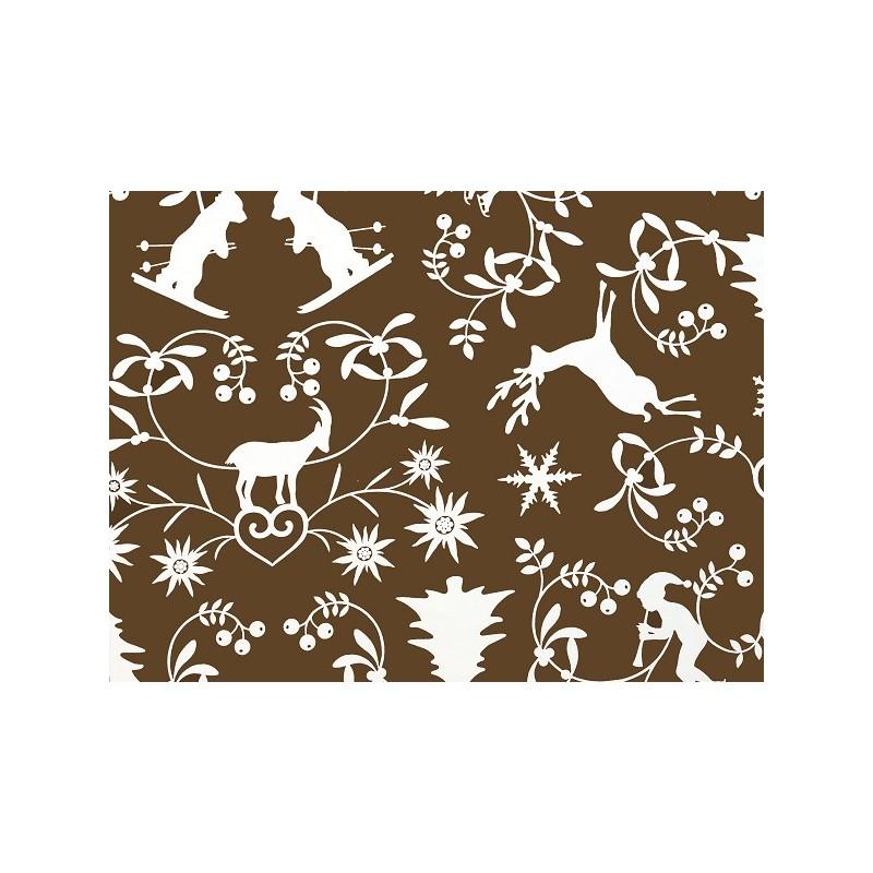 tissus pas cher tissu coton montagne chocolat. Black Bedroom Furniture Sets. Home Design Ideas