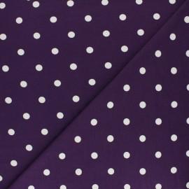 ♥ Coupon 180 cm X 140 cm ♥ Tissu jersey de coton à pois blanc - violet