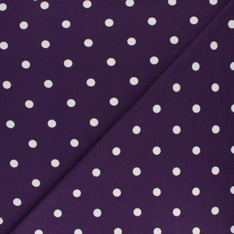 Tissu jersey de coton à pois blanc - violet x 10cm