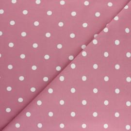 Tissu jersey de coton à pois blanc - Rose x 10cm