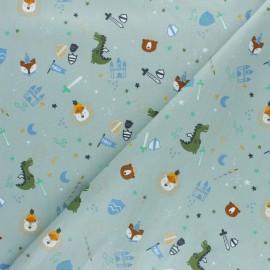 Poplin cotton fabric - green Dino's at the castle x 10