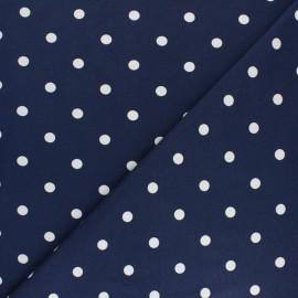 Tissu jersey de coton à pois blanc - bleu roi x 10cm