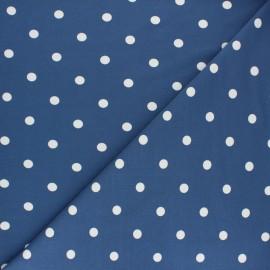 Tissu jersey de coton à pois blanc - bleu houle x 10cm