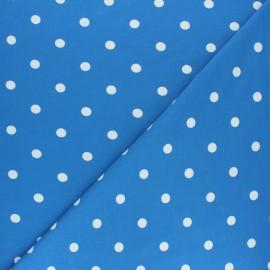 Tissu jersey de coton à pois blanc - bleu marine x 10cm