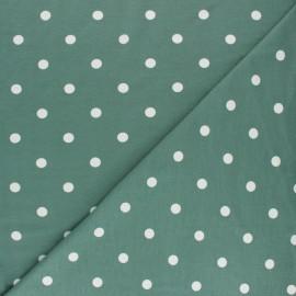 Tissu jersey de coton à pois blanc - vert x 10cm