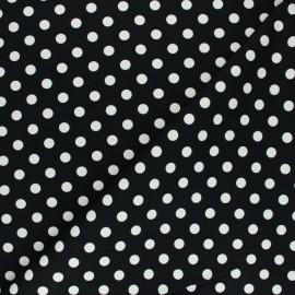 ♥ Coupon 50 cm X 150 cm ♥ Tissu Gabardine Lycra à pois blanc - noir
