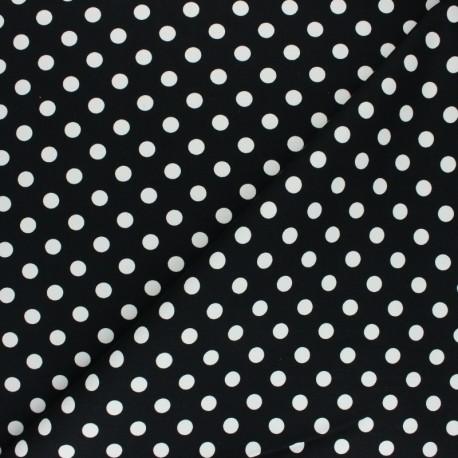 Tissu Gabardine Lycra à pois blanc - noir x 10cm