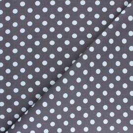 Tissu Gabardine Lycra à pois blanc - taupe x 10cm