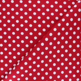Tissu Gabardine Lycra à pois blanc - rouge x 10cm
