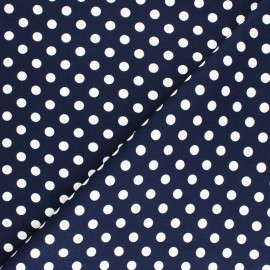 ♥ Coupon 30 cm X 150 cm ♥  Dotted Lycra Gabardine Fabric - navy blue