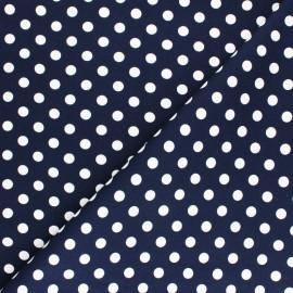 Tissu Gabardine Lycra à pois blanc - marine x 10cm