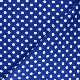 ♥ Coupon 160 cm X 150 cm ♥  Tissu Gabardine Lycra à pois blanc - bleu