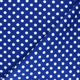 Tissu Gabardine Lycra à pois blanc - bleu x 10cm