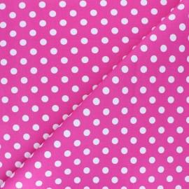 Tissu Gabardine Lycra à pois blanc - rose x 10cm