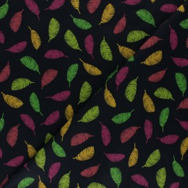 Poppy poplin cotton fabric - black Colorful leaves x 10cm
