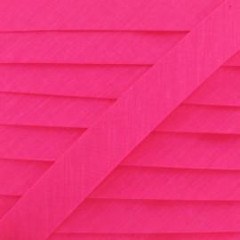 Ruban biais uni fluo rose