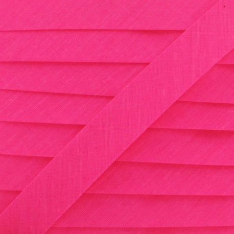 Ruban biais unis fluo rose
